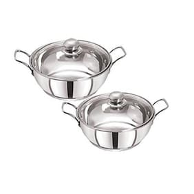 Pristine Stainless Steel Induction Compatible Sandwich Base Kadai Set with Glass Lid, (22cm, 2 Ltrs / 25cm, 3 ltrs) Silver