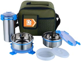 PRIYAJ 2 Container Stainless Steel Lunch Box Set of 2 ( Blue ,  480 ml )
