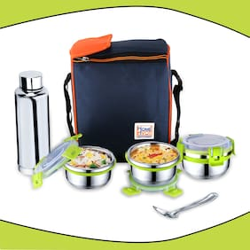Priyaj Stainless Steel Lunch Box Set Family Series 3 Containers (320ml each);600ml Steel Bottle & spoon with Thermoware bag