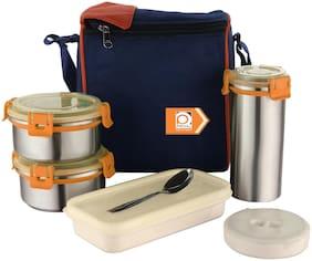 PRIYAJ 2 Container Stainless Steel Lunch Box Set of 2 ( Orange ,  480 ml )