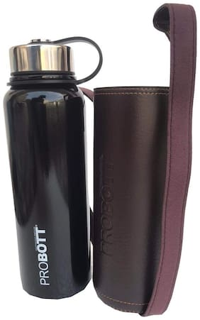 Probott Vacuum Flask Water Bottle With Carry Bag Thermosteel Flask Set of 1 ( Black , Stainless Steel ,  1500 ml )