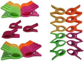 PRODUCTMINE  12 Sturdy Multipurpose Plastic High Quality Clips Cloth Clips (Set of 12, Multicolor)