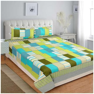 Profit blitz Microfiber Checkered King Size Bedsheet 144 TC ( 1 Bedsheet With 2 Pillow Covers , Green )