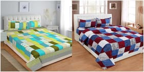 Profit blitz Microfiber Checkered King Size Bedsheet 144 TC ( 2 Bedsheet With 4 Pillow Covers , Multi )