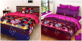 Profit blitz Microfiber 3D Printed King Size Bedsheet ( 2 Bedsheet With 3 Pillow Covers , Multi )