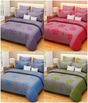 Profit Blitz 3D poly cotton Combo Of 4 Double Bedsheet With 8 Pillow Covers