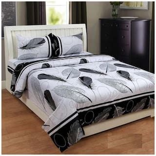 Profit blitz Microfiber 3D Printed King Size Bedsheet ( 1 Bedsheet With 2 Pillow Covers , Black & White )