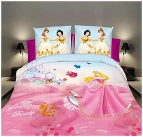 Profit blitz Microfiber Kids Double Size Bedsheet ( 1 Bedsheet With 2 Pillow Covers , Multi )