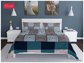 Profit blitz Microfiber Geometric Double Size Bedsheet 104 TC ( 1 Bedsheet With 2 Pillow Covers , Green )