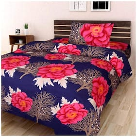 Profit Blitz 3D Printed Multicolor Single Bedsheet With 1 Pillow Cover