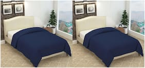 Profit blitz Combo of Single Bed Polar Fleece Blanket Plain Blue color Set of 2