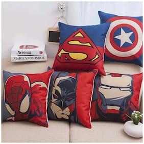 Profit Blitz Digital Printed Multicolor Zipper Cushion Covers Set of 5