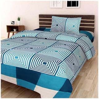 Profit blitz Microfiber Abstract Single Size Bedsheet 104 TC ( 1 Bedsheet With 1 Pillow Covers , Multi )