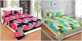 Profit blitz Multicolor PolyCotton King Size 2 Double Bedsheet (90x108 inch) with 4 Pillow Covers (18x28 inch) COMBO21