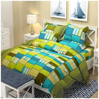 Profit blitz Microfiber 3D Printed Double Size Bedsheet 155 TC ( 1 Bedsheet With 2 Pillow Covers , Green )