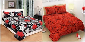 Profit blitz Microfiber Floral King Size Bedsheet 144 TC ( 2 Bedsheet With 4 Pillow Covers , Multi )