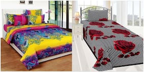Profit blitz Cotton Abstract Single Size Bedsheet Combo 144 ( 2 Bedsheet With 2 Pillow Covers , Multi )