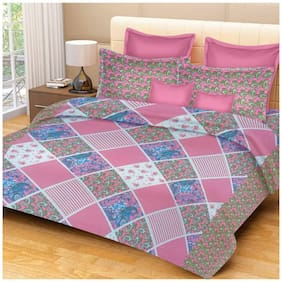 Profit Blitz Cotton Abstract King 1 Bedsheet with 2 Pillow Covers