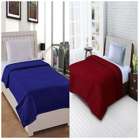 Profit Blitz Presents Combo of  All Seasons Single Bed Solid Polar Fleece Blankets For Mild Winter