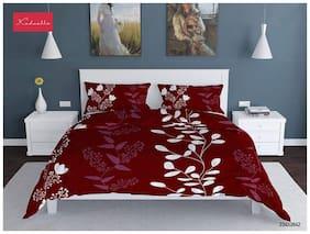 Profit blitz Microfiber Floral Double Size Bedsheet 144 TC ( 1 Bedsheet With 2 Pillow Covers , Maroon )