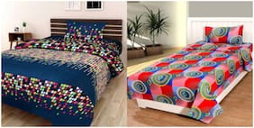 Profit blitz Poly cotton Abstract Single Size Bedsheet Combo 144 ( 2 Bedsheet With 2 Pillow Covers , Multi )