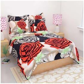 Profit blitz Microfiber 3D Printed Double Size Bedsheet 144 TC ( 1 Bedsheet With 2 Pillow Covers , Multi )