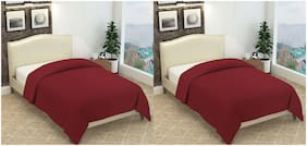 Profit blitz Combo of Single Bed Polar Fleece Blanket Plain Maroon color Set of 2