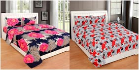 Profit blitz Microfiber Floral King Size Bedsheet 144 TC ( 2 Bedsheet With 4 Pillow Covers , Multi )
