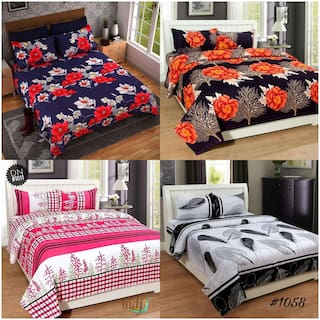 Profit Blitz Combos of 4 Double Multi Color 3D Printed Poly Cotton Bed Sheets With 8 Pillow Covers