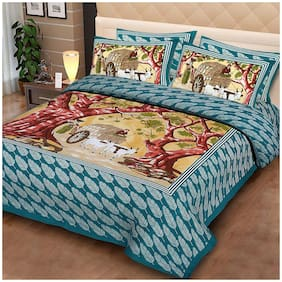 Profit blitz Cotton Abstract King Size Bedsheet 180 TC ( 1 Bedsheet With 2 Pillow Covers , Blue )