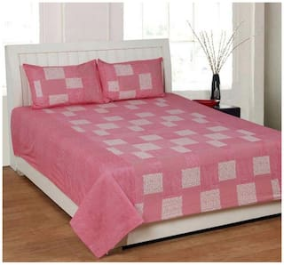 Profit blitz Cotton Floral Double Size Bedsheet 166 TC ( 1 Bedsheet With 2 Pillow Covers , Pink )