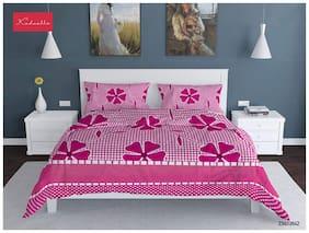 Profit blitz Microfiber Floral Double Size Bedsheet 144 TC ( 1 Bedsheet With 2 Pillow Covers , Pink )
