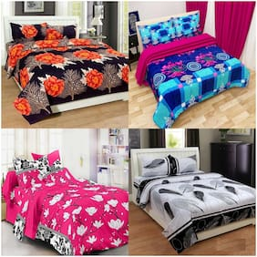 Profit blitz Poly cotton Abstract Double Size Bedsheet Combo ( 4 Bedsheet With 8 Pillow Covers , Multi )