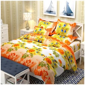 Profit blitz 100% Glace Cotton King Size  Bed Bedsheet With 2 Pillow Covers