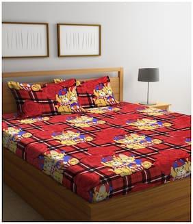 Profit blitz Microfiber 3D Printed Double Size Bedsheet 104 TC ( 1 Bedsheet With 2 Pillow Covers , Multi )