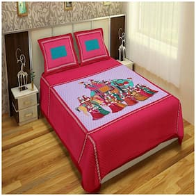 Profit blitz Cotton Abstract King Size Bedsheet 180 TC ( 1 Bedsheet With 2 Pillow Covers , Pink )