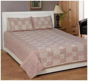 Profit blitz Cotton Floral Double Size Bedsheet 166 TC ( 1 Bedsheet With 2 Pillow Covers , Beige )