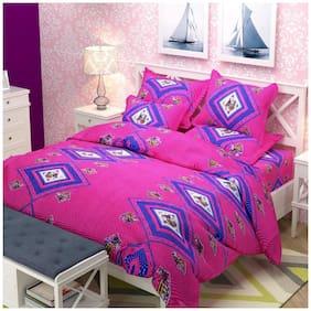 Profit blitz Microfiber 3D Printed Double Size Bedsheet 155 TC ( 1 Bedsheet With 2 Pillow Covers , Pink )