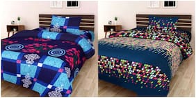 Profit Blitz Combo of 2 Single 3D PolyCotton Bedsheet with 2 Pillow Covers