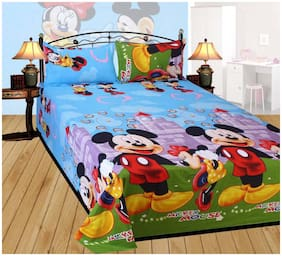 Profit blitz Microfiber 3D Printed Double Size Bedsheet ( 1 Bedsheet With 2 Pillow Covers , Multi )