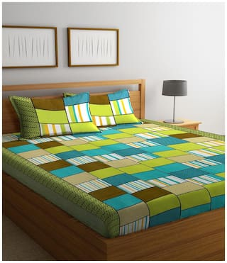 Profit blitz Microfiber Checkered Double Size Bedsheet 144 TC ( 1 Bedsheet With 2 Pillow Covers , Multi )