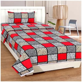 Profit blitz Cotton Abstract Single Size Bedsheet 144 TC ( 1 Bedsheet With 1 Pillow Covers , Multi )
