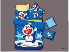 Profit Blitz Glace Cotton Double Cartoon Bedsheet With Two Pillow Covers