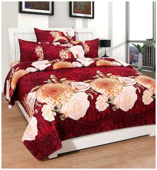 Profit blitz Microfiber Abstract Double Size Bedsheet ( 1 Bedsheet With 2 Pillow Covers , Multi )