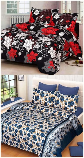 ProfitBlitz 3D Printed Poly Cotton Two Double Bed Sheet With Four Pillow Covers 3D86