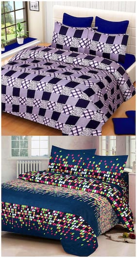 ProfitBlitz 3D Printed Poly Cotton Two Double Bed Sheet With Four Pillow Covers 3D124