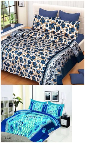 ProfitBlitz 3D Printed Poly Cotton Two Double Bed Sheet With Four Pillow Covers 3D111