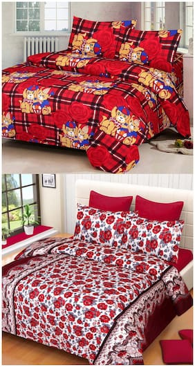 ProfitBlitz 3D Printed Poly Cotton Two Double Bed Sheet With Four Pillow Covers 3D119