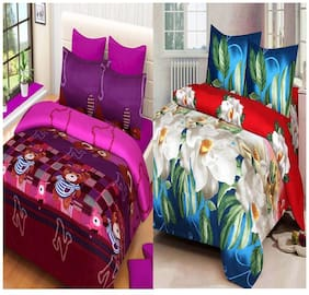 ProfitBlitz 3D Printed Poly Cotton Two Double Bed Sheet With Four Pillow Covers 3D12