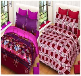 ProfitBlitz 3D Printed Poly Cotton Two Double Bed Sheet With Four Pillow Covers 3D16